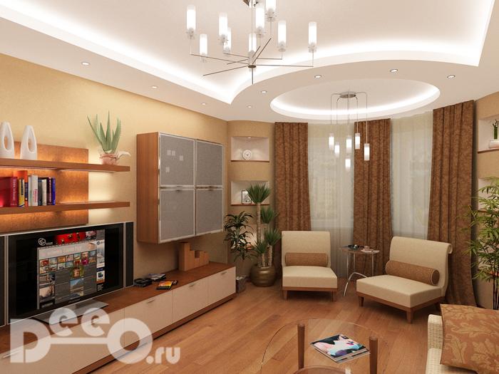 Визуализация гостинной в Кузьминках